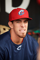 Columbus Clippers Bradley Zimmer in the dugout before a game against the Louisville Bats on May 1, 2017 at Louisville Slugger Field in Louisville, Kentucky.  Columbus defeated Louisville 6-1  (Mike Janes/Four Seam Images)