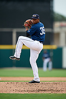Lakeland Flying Tigers relief pitcher Gerson Moreno (36) delivers a pitch during a game against the St. Lucie Mets on June 11, 2017 at Joker Marchant Stadium in Lakeland, Florida.  Lakeland defeated St. Lucie 1-0.  (Mike Janes/Four Seam Images)