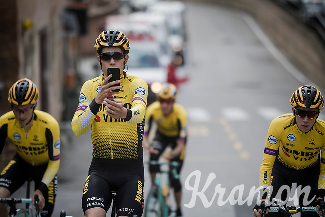 Wout Van Aert (BEL/Jumbo-Visma) working on his social media<br /> <br /> Team Jumbo-Visma race reconnaissance 1 day prior to the 13th Strade Bianche 2019 (1.UWT)<br /> One day race from Siena to Siena (184km)<br /> <br /> ©kramon