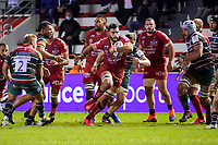 26th September 2020; Toulon, France; European Challenge Cup Rugby, semi-final; RC Toulon versus Leicester Tigers;  Charles Ollivon (RC Toulon) breaks past Tom Youngs of Leicester