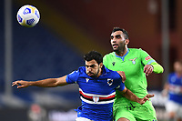 Mehdi Leris of UC Sampdoria and Mohamed Fares of SS Lazio compete for the ball during the Serie A football match between UC Sampdoria and SS Lazio at stadio Marassi in Genova (Italy), October 17th, 2020. <br /> Photo Image Sport / Insidefoto