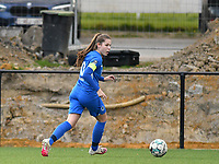 Sien Vandersanden (10) of KRC Genk with the ball during a female soccer game between Sporting Charleroi and KRC Genk on the 4 th matchday in play off 2 of the 2020 - 2021 season of Belgian Scooore Womens Super League , friday 30 th of April 2021  in Marcinelle , Belgium . PHOTO SPORTPIX.BE | SPP | Jill Delsaux