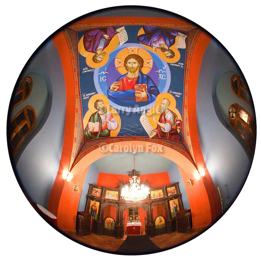 Byzantine-style frescos created by iconographer Miloje Milinkovic within the Myrrbearers Church. the funerary chapel at the Kragujevac cemetery, Serbia
