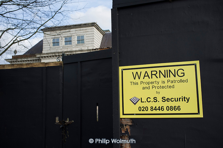 Empty mansion in The Bishops Avenue in north London, owned by a company registered in Curacao.  Many houses in the street, also known as Billionaire's Row, have been left vacant by their mostly overseas owners.