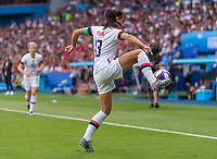 PARIS,  - JUNE 28: Alex Morgan #13 takes a touch on the ball during a game between France and USWNT at Parc des Princes on June 28, 2019 in Paris, France.