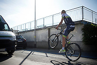 Brett Lancaster (AUS/Orica-GreenEDGE) having some morning fun at the team hotel prior to the first 2015 Giro stage<br /> <br /> Team Orica-GreenEDGE