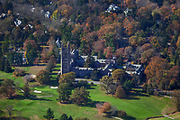aerial photograph of the Graduate College and Cleveland Tower, Princeton University, Princeton, Mercer County, New Jersey during the fall.  Springdale Golf Course is in the foreground.