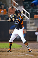 Zach Jarrett (48) of the Aberdeen IronBirds at bat against the Hudson Valley Renegades at Leidos Field at Ripken Stadium on July 27, 2017 in Aberdeen, Maryland.  The IronBirds defeated the Renegades 3-0 in game two of a double-header.  (Brian Westerholt/Four Seam Images)