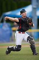 Batavia Muckdogs catcher David Gauntt (7) throws to first base for the out during a game against the West Virginia Black Bears on June 26, 2017 at Dwyer Stadium in Batavia, New York.  Batavia defeated West Virginia 1-0 in ten innings.  (Mike Janes/Four Seam Images)