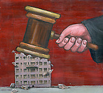 Hand on judge with gavel smashing on residential structure over red background depicting foreclosure by law