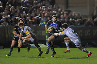 Matt Banahan of Bath Rugby (left) and Matt Smith of Leicester Tigers during the LV= Cup semi final match between Bath Rugby and Leicester Tigers at The Recreation Ground, Bath (Photo by Rob Munro, Fotosports International)