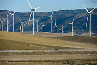 Spain, Andalusia, Cadiz, village La Zarzuela, wind farm in the mountains, Acciona and Enercon wind turbines