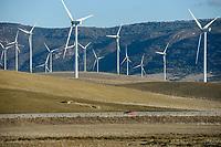 Spain, Andalusia, Cadiz, village La Zarzuela, wind farm in the mountains, Acciona and Enercon wind turbines