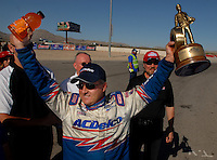 Apr 9, 2006; Las Vegas, NV, USA; NHRA Pro Stock driver Kurt Johnson, driver of the AC Delco Chevrolet Cobalt celebrates after defeating Dave Connelly in the final round of Pro Stock at the Summitracing.com Nationals at Las Vegas Motor Speedway in Las Vegas, NV. Mandatory Credit: Mark J. Rebilas