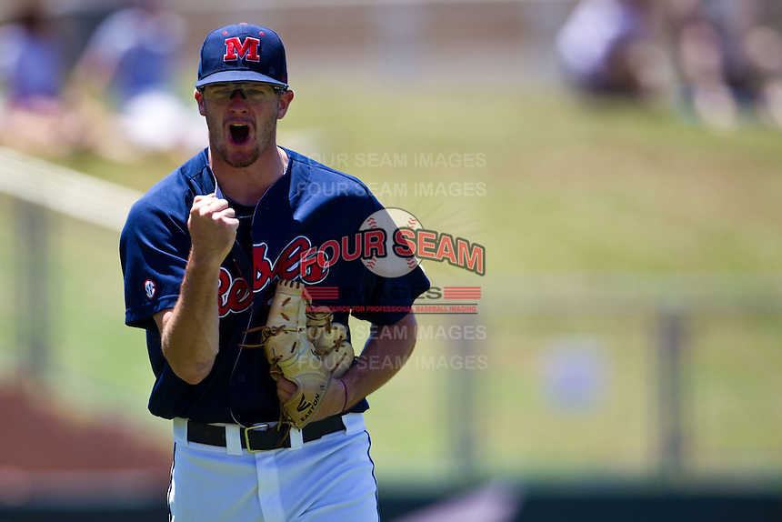 Pitcher Bobby Wahl #19 of the Ole Miss Rebels celebrates an inning ending strikeout during the NCAA Regional baseball game against the Texas Christian University Horned Frogs on June 1, 2012 at Blue Bell Park in College Station, Texas. Ole Miss defeated TCU 6-2. (Andrew Woolley/Four Seam Images)...