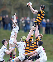 RBAI vs R S ARMAGH | Saturday 21st February 2015<br /> <br /> Charlie Fryers secures this lineout ball during 2015 Ulster Schools Cup Quarter-Final between RBAI and Royal School Armagh at Osborne Park, Belfast, Northern Ireland.<br /> <br /> Picture credit: John Dickson / DICKSONDIGITAL