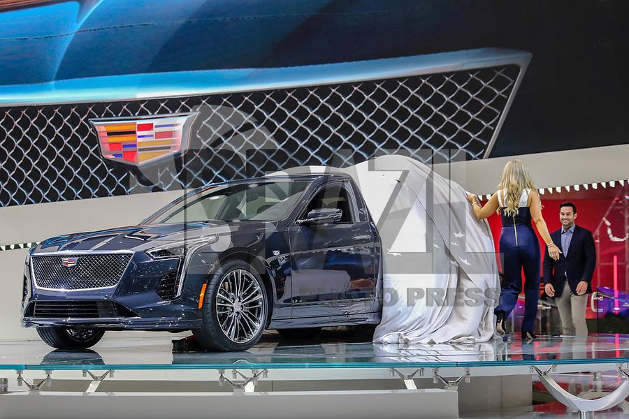 NOVA YORK, EUA, 28.03.2018 - SALÃO-AUTOMOVEL - Cadillac CT6 V-SPORT é visto após a sua apresentação no New York International Auto Show, 28 de março de 2018 no Centro de Convenções Jacob K. Javits, em Nova York. O salão do automóvel será aberto ao público no dia 30 de março e vai até o dia 8 de abril. (Foto: William Volcov/Brazil Photo Press)