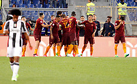 Calcio, Serie A: Roma vs Juventus. Roma, stadio Olimpico, 14 maggio 2017. <br /> Roma's Radja Nainggolan, center, celebrates with teammates after scoring during the Italian Serie A football match between Roma and Juventus at Rome's Olympic stadium, 14 May 2017. Roma won 3-1.<br /> UPDATE IMAGES PRESS/Riccardo De Luca