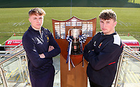 Monday 27th January 2020 | Ulster Schools' Cup Draw<br /> <br /> Bangor Grammar School captain Conor Lusty and Wallace High School captain Reuben Crothers at the draw for the Ulster Schools' Cup Quarter Finals held at Kingspan Stadium, Ravenhill Park, Belfast, Northern Ireland. Fixtures to be played on or before 8 Feb 2020.  Photo credit - John Dickson DICKSONDIGITAL