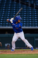AZL Cubs 1 Henderson Perez (8) at bat during an Arizona League game against the AZL Royals on June 30, 2019 at Sloan Park in Mesa, Arizona. AZL Royals defeated the AZL Cubs 1 9-5. (Zachary Lucy/Four Seam Images)