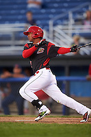 Batavia Muckdogs right fielder Jhonny Santos (32) at bat during a game against the State College Spikes on June 23, 2016 at Dwyer Stadium in Batavia, New York.  State College defeated Batavia 8-4.  (Mike Janes/Four Seam Images)