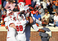 Oct. 22, 2011 - Charlottesville, Virginia - USA; North Carolina State wide receiver Bryan Underwood (80) celebrates a touchdown with teammates during an NCAA football game against the Virginia Cavaliers at the Scott Stadium. NC State defeated Virginia 28-14. (Credit Image: © Andrew Shurtleff