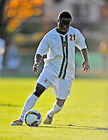 15 October 2008: University of Vermont Catamount forward Lee Stephane Kouadio, a Senior from Woodlyn, PA, in action against the University of New Hampshire Wildcats at Centennial Field, in Burlington, Vermont. The Wildcats and Catamounts battled in overtime to a 0-0 tie...Mandatory Photo Credit: Ed Wolfstein Photo