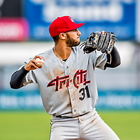 25 July 2017: Tri-City ValleyCats third baseman Abraham Toro-Hernandez in action against the Vermont Lake Monsters at Centennial Field in Burlington, Vermont. The Lake Monsters defeated the ValleyCats 11-3 in NY Penn League action. Mandatory Credit: Ed Wolfstein Photo *** RAW (NEF) Image File Available ***
