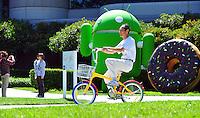 Sept. 6, 2011 - Mountain View, California - U.S. - A man rides a bike past giant sculptures at the Google world headquarters in Mountain View, California Monday September 5, 2011.  (Credit Image: Alan Greth/ZUMAPress.com).