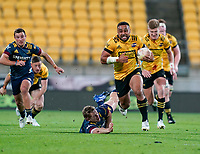 30th April 2021; Wellington, New Zealand;  Hurricanes Ngani Laumape open field run.  Hurricanes versus  Highlanders, Super Rugby, Sky Stadium, Wellington New Zealand, Friday 30 April 2021.