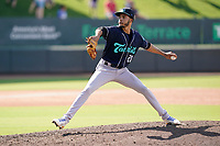 Pitcher Yeremi Ceballos (21) of the Asheville Tourists in a game against the Greenville Drive on Sunday, June 6, 2021, at Fluor Field at the West End in Greenville, South Carolina. (Tom Priddy/Four Seam Images)