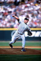 SEATTLE, WA - Roger Clemens of the New York Yankees pitches during the 2001 All Star Game at Safeco Field in Seattle, Washington in 2001. Photo by Brad Mangin