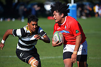 Action from the Wellington Paris Memorial Trophy under-21s club rugby match between MSP and Oriental Rongotai at Kilbirnie Park in Wellington, New Zealand on Saturday, 15 May 2021. Photo: Dave Lintott / lintottphoto.co.nz