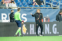 FOXBOROUGH, MA - MAY 1: Gabriel Heinze head coach of Atlanta United FC reacts to a yellow card issued against him during a game between Atlanta United FC and New England Revolution at Gillette Stadium on May 1, 2021 in Foxborough, Massachusetts.