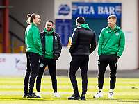 13th March 2021; Global Energy Stadium, Dingwall, Highland, Scotland; Scottish Premiership Football, Ross County versus Hibernian; Martin Boyle of Hibernian and Ryan Porteous of Hibernian chat with Jackson Irvine of Hibernian and Kyle Magennis of Hibernian before kick off