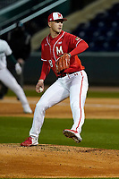 Starting pitcher Sean Burke (18) of the Maryland Terrapins struck out 13 in six innings but took the 6-0 loss against the Michigan State Spartans on Friday, March 5, 2021, at Fluor Field at the West End in Greenville, South Carolina. (Tom Priddy/Four Seam Images)