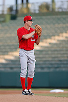 Dan Tobik #53 of the AZL Angels pitches against the AZL Diamondbacks at Tempe Diablo Stadium on July 14, 2013 in Tempe, Arizona. AZL Angels defeated the AZL Diamondbacks, 5-3. (Larry Goren/Four Seam Images)