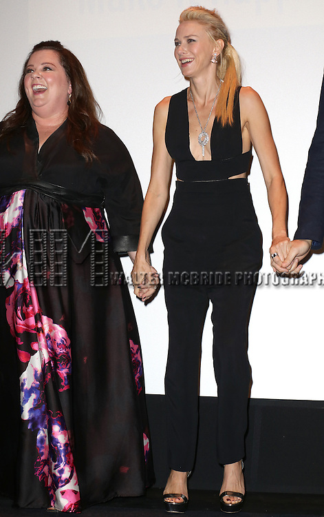 Melissa McCarthy and Naomi Watts during the 'St. Vincent' premiere presentation during the 2014 Toronto International Film Festival at Princess of Wales Theatre on September 5, 2014 in Toronto, Canada.