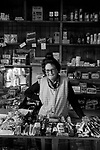 Woman behind the counter sweet shop near  Lerwick 1970s.