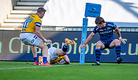 13th September 2020; AJ Bell Stadium, Salford, Lancashire, England; English Premiership Rugby, Sale Sharks versus Bath;  Ben Spencer of Bath Rugby goes over to score Bath's second try in the 30th minute to make the score 17-7 in their favour