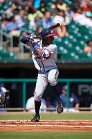 Mississippi Braves second baseman Travis Demeritte (11) at bat during a game against the Montgomery Biscuits on April 25, 2017 at Montgomery Riverwalk Stadium in Montgomery, Alabama.  Mississippi defeated Montgomery 3-2.  (Mike Janes/Four Seam Images)