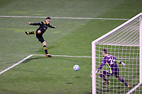 COLUMBUS, OH - DECEMBER 12: Lucas Zelarayan #10 of the Columbus Crew scores the game's first goal past Stefan Frei #24 of the Seattle Sounders FC during a game between Seattle Sounders FC and Columbus Crew at MAPFRE Stadium on December 12, 2020 in Columbus, Ohio.