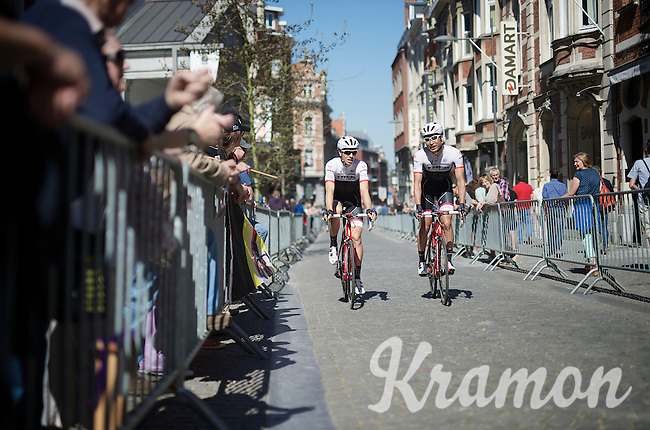 Teammates Fumi Beppu (JAP/Trek Factory Racing) & Danny Van Poppel (NLD/Trek Factory Racing) riding their way back to the teambus after sign-in in the streets of Leuven<br /> <br /> 55th Brabantse Pijl 2015