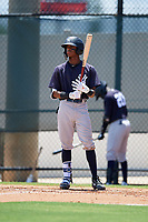 GCL Yankees East Alexander Vargas (12) bats during a Gulf Coast League game against the GCL Phillies West on August 3, 2019 at the Carpenter Complex in Clearwater, Florida.  The GCL Yankees East defeated the GCL Phillies West 4-0, the second game of a doubleheader.  (Mike Janes/Four Seam Images)