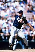 Jim Abbott of the Anaheim Angels during a spring training game at Tempe Diablo Stadium in Tempe, Arizona during the 1997 season.(Larry Goren/Four Seam Images)