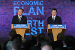 © Joel Goodman - all rights reserved . 08/01/2014 . Manchester , UK . The British Prime Minister , David Cameron , and the Chancellor of the Exchequer , George Osborne , deliver speeches on the economy and on the economic development and devolution of powers to the North West of England at the Old Granada Studios , Quay Street , Manchester . Photo credit : Joel Goodman