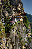 Taktshang Goemba (Tigers Nest),  the legendary Himalayan sacred buddhist sanctuary and temple complex. The temple is located on a rock precipice overlooking the Paro Valley at 3,100m altitude in the Himalayan foothills.
