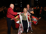 """David Westphal, Erica Mansfield and Ryan Worsing during the Broadway Opening Night Legacy Robe Ceremony honoring Erica Mansfield for  """"Kiss Me, Kate""""  at Studio 54 on March 14, 2019 in New York City."""