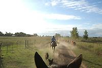 Argentina, Gauchos riding.