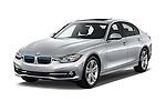 2018 BMW 3-Series 330e-iPerformance 4 Door Sedan Angular Front stock photos of front three quarter view
